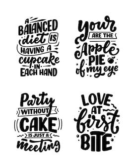 Grappige uitspraken, inspirerende citaten voor afdrukken in café of bakkerij. grappige borstelkalligrafie. dessert belettering slogans in handgetekende stijl.