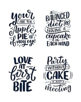 Grappige uitspraken, inspirerende citaten voor afdrukken in een café of een bakkerij. grappige borstelkalligrafie.