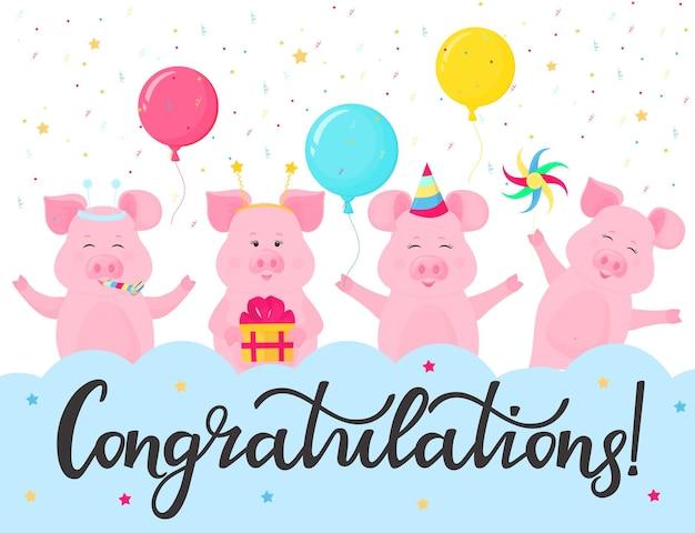 Grappige varkens op een feestje. gefeliciteerd hand belettering. wenskaart ontwerp. geschenkdoos, gestreepte hoed, fluitje, vuurrad.
