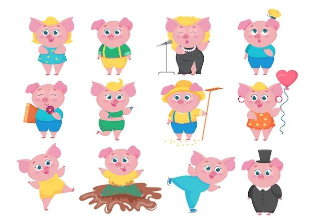 Grappige varkens stripfiguren set. platte verzameling kleine schattige dieren in verschillende situaties, zingen, eten, dansen, plezier maken. gelukkig biggenconcept.