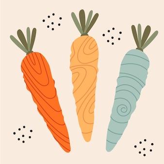 Grappige veelkleurige wortelen met verschillende texturen.