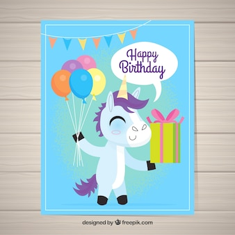 Grappige verjaardagskaart met een gelukkige eenhoorn