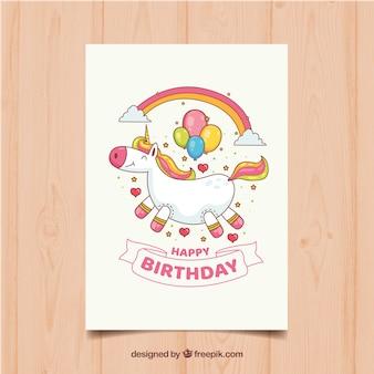 Grappige verjaardagskaart met eenhoorn