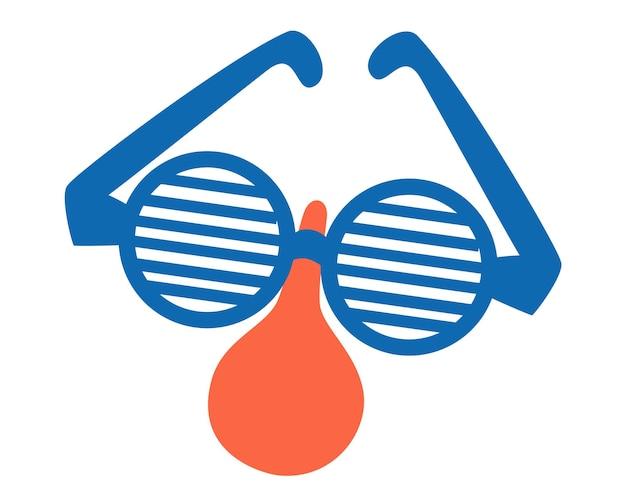 Grappige vermomming bril met neus. accessoire voor feest. het gezicht van de clown. april dwazen dag.