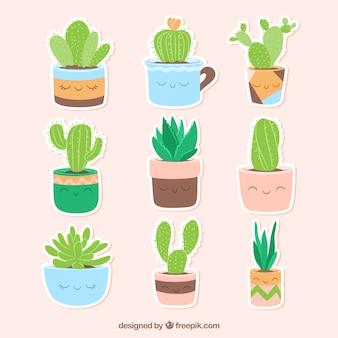 Grappige verscheidenheid van cactus stickers