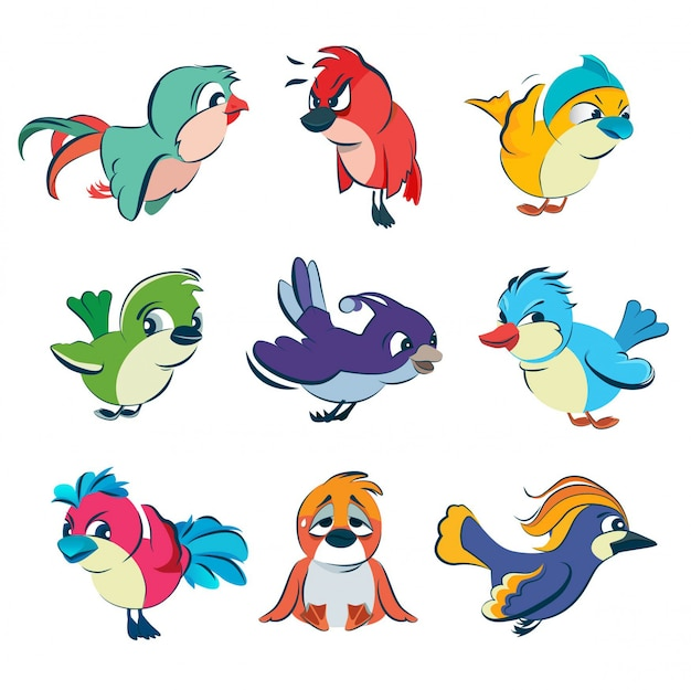 Grappige verschillende vogels