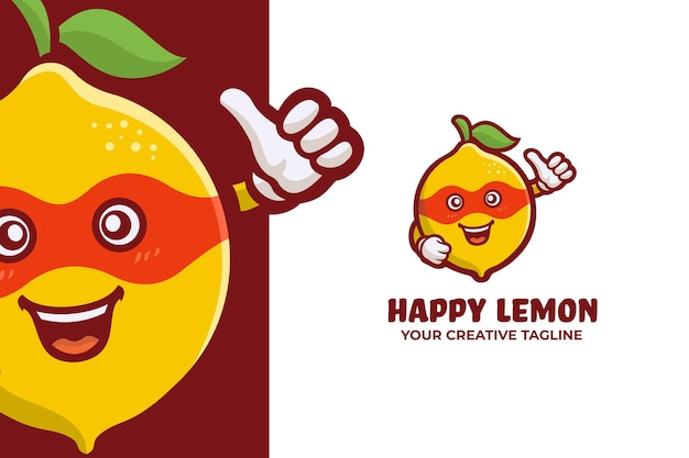 Grappige verse citroenfruit logo mascotte