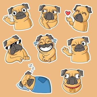 Grappige verzameling pug platte stickers