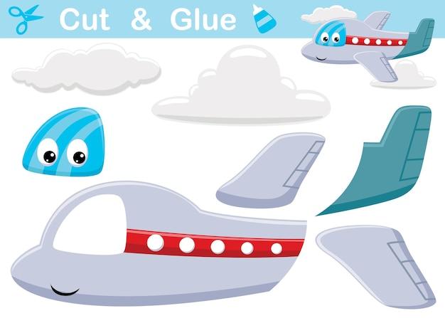 Grappige vliegtuig cartoon met wolken. onderwijs papier spel voor kinderen. uitknippen en lijmen
