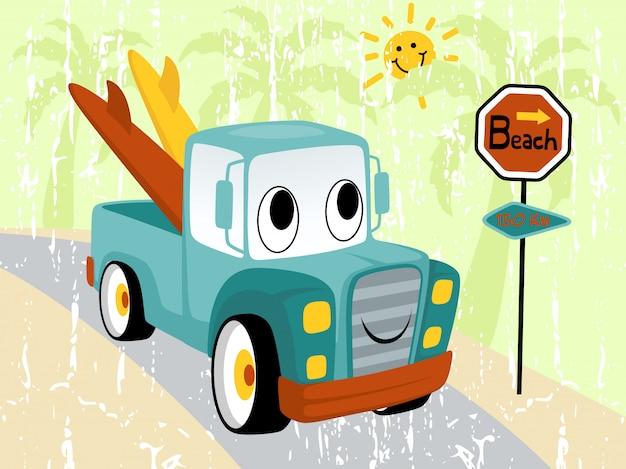 Grappige vrachtwagen cartoon met surfboard