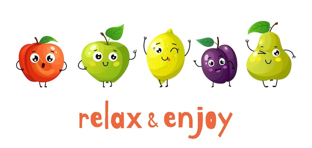 Grappige vruchten. cartoon babyfruit, zomersnoepjes. geïsoleerde appel, perzik en mollig