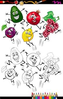 Grappige vruchten cartoon kleurplaat