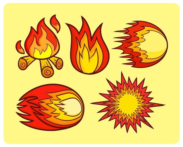 Grappige vuurbal symbolen in eenvoudige doodle stijl