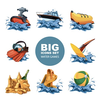 Grappige water game icon set