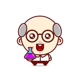 Grappige wetenschapper grootvader karakter kawaii ontwerpen