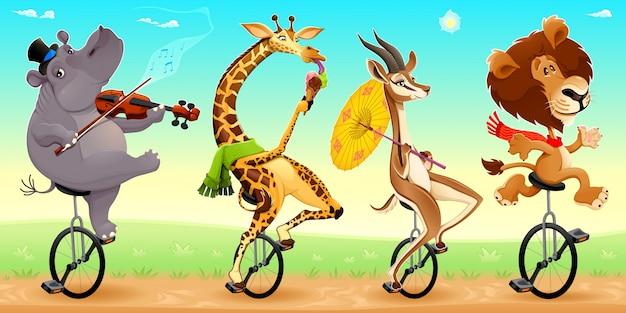 Grappige wilde dieren op eenwielers vector cartoon illustratie