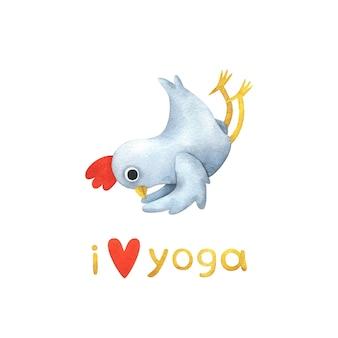 Grappige witte kip in yoga houdingen. illustratie met een vogel in shalabhasana pose