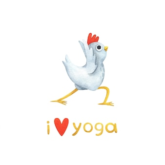 Grappige witte kip in yoga houdingen.
