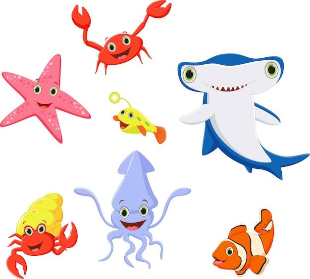 Grappige zee leven cartoon collectie