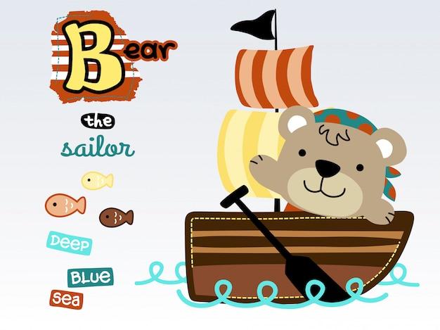 Grappige zeeman cartoon op zeilboot