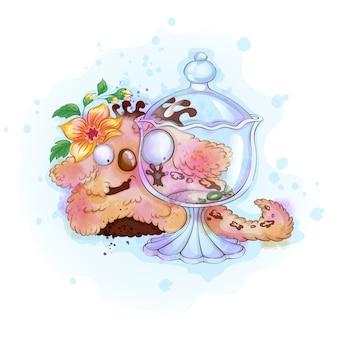 Grappige zoete vanille pluizig monster kijkt naar een glazen vaas met snoep.