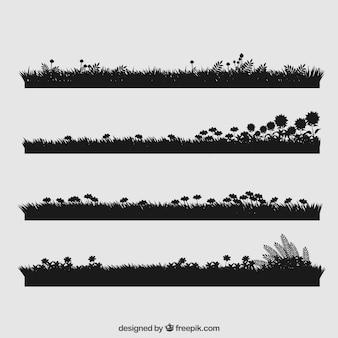 Gras collectie met bloemen