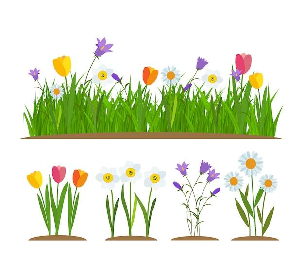 Gras en bloemen grens set