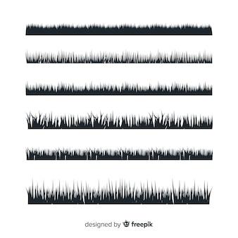 Gras grens silhouet collectie geïsoleerd