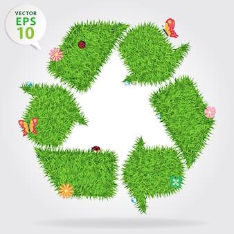 Gras kringloopsymbool, ecologische conceptillustratie