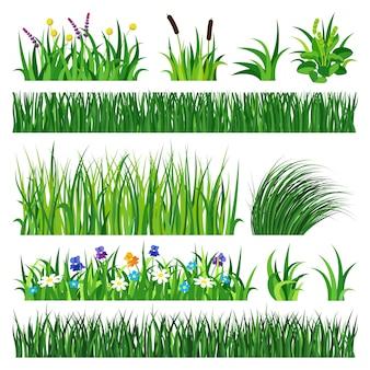 Gras met aarde vectorillustratie.