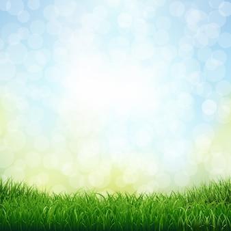 Gras met bokeh met verloopnet, illustratie