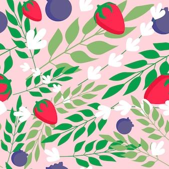 Grasbladeren en wild aardbei naadloos patroon