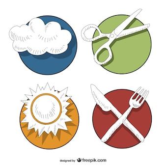 Gratis badges vector illustraties