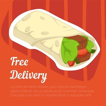 Gratis bezorging van streetfood of bistromaaltijd vector
