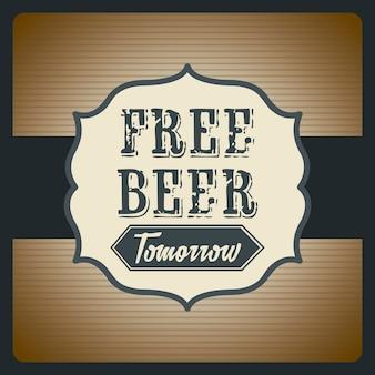 Gratis bier morgen illustratie vintage stijl vectorillustratie