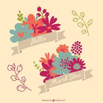 Gratis bloemen annoucement graphics set