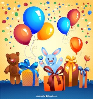 Gratis cartoon vector verjaardagskaart