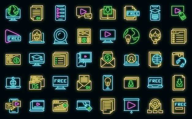Gratis cursus pictogrammen instellen overzicht vector. virtuele computerklas. gratis app-afstand