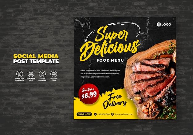 Gratis eten sociale media promotie en restaurant menu banner post design sjabloon Premium Vector