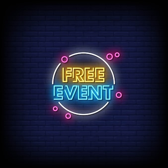 Gratis event neon signs style text