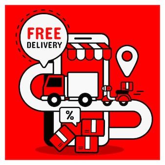 Gratis levering bij online winkelen. mobiel winkelconcept