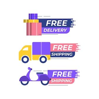 Gratis levering gratis verzending vector sjabloon