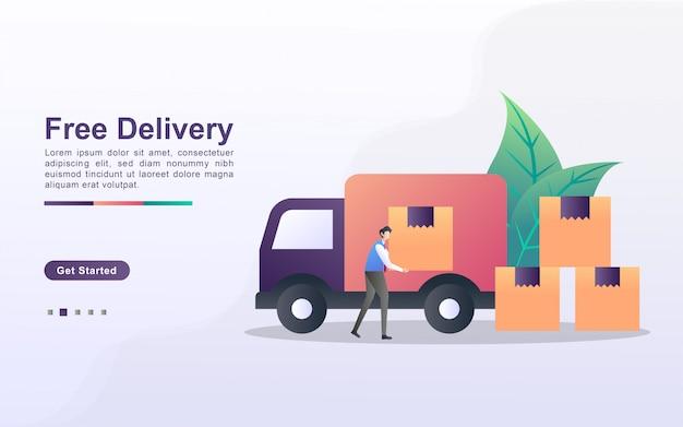 Gratis levering illustratie concept met kleine mensen. de koerier haalt de dozen op en regelt ze, de bestellingen staan klaar om afgeleverd te worden op het adres van de klant.