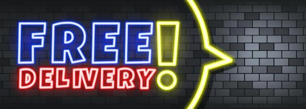 Gratis levering neontekst op de stenen achtergrond. gratis bezorging. voor zaken, marketing en reclame. vector op geïsoleerde achtergrond. eps-10.