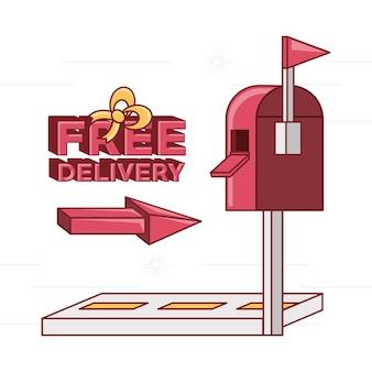 Gratis levering ontwerp met mailbox pictogram