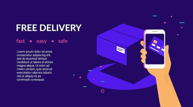 Gratis levering voor klanten hoe betalen met creditcard via mobiele app platte vector neon websitesjabloon