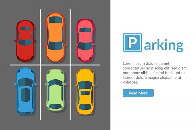 Gratis parkeerplaats met verschillende auto. bovenaanzicht voertuig illustratie in vlakke stijl