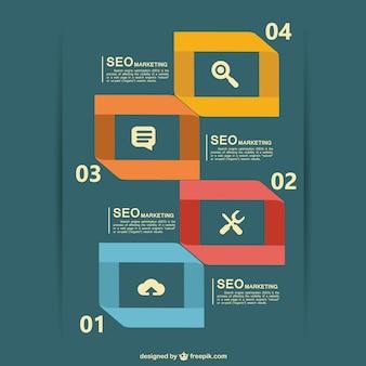 Gratis platte vector seo infographic