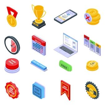 Gratis proefversie iconen set. isometrische reeks gratis proefversiepictogrammen voor web