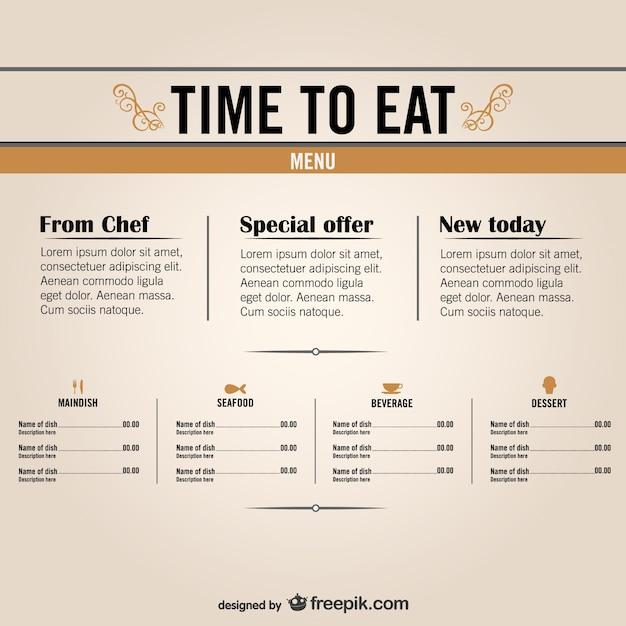 Gratis restaurant menu graphics